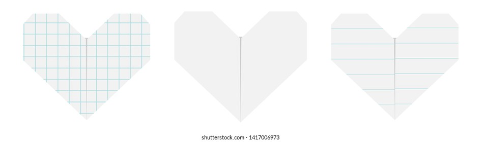 Happy Valentines day sign symbol. Notebook lined squared paper heart icon set. Origami handmade craft fold. Line Cell texture. Cute graphic shape. Flat design. Love card. White background.