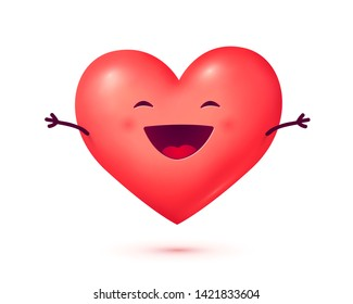 Happy Valentines Day symbol laughing 3D style red cute heart with hands and smile, raster greeting card element isolated on white background.