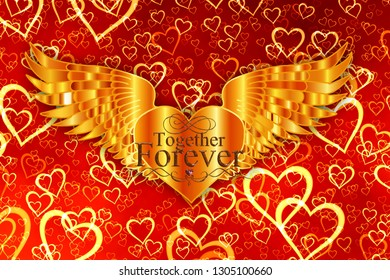 happy Valentine's day together forever illustration banner