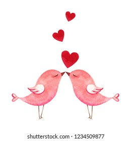 Happy Valentine's day. Watercolor card with two pink birds and hearts isolated on white background. Hand drawn illustration for Mother's Day or Women's Day, greeting cards, invitations .