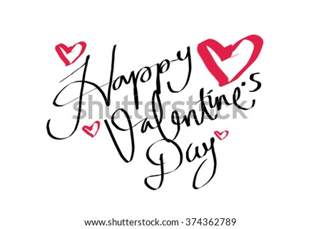 Happy Valentines Day Words Handwriting On Stock Illustration