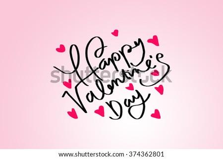 Happy Valentines Day Words Handwriting On Stock Illustration