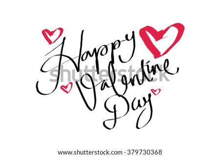 Happy Valentines Day Words Handwriting Stock Illustration 379730368