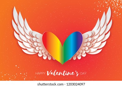 Happy Valentine's Gay Day Greetings card . Origami cute angel wings and rainbow spectrum flag heart. Homosexuality Love. Winged heart in paper cut style. LGBT rights concept. Red background.