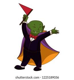 Happy vampire kid icon. Cartoon of happy vampire kid icon for web design