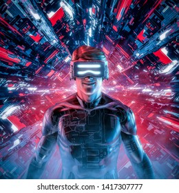 Happy virtual gamer man / 3D illustration of smiling male figure wearing virtual reality glasses and suit in glowing cyberpunk computer core