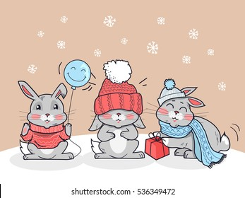 Happy winter friends. Three little rabbits in big red hat, scarf and lollipop. Funny bunny wearing warm cloth. Winter landscape with cartoon characters. Small hare in flat style design.
