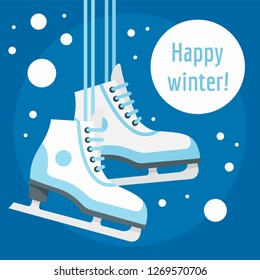 Happy winter ice skate concept background. Flat illustration of happy winter ice skate concept background for web design