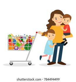 Happy woman with two kids and shoping cart. illustration