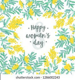 Happy Women's Day festive wish against figure eight on background surrounded by beautiful blooming yellow mimosa flowers and green leaves. Elegant illustration for 8 march greeting card.