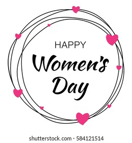 Happy Womens Day hand drawn typographic lettering with scribble circle isolated on white background with pink hearts flower. Illustration of a Women's Day card.