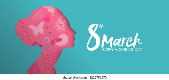 Happy Wome's Day holiday illustration. Paper cutout girl face with pink spring doodles and flowers. Horizontal format design ideal for web banner or greeting card.