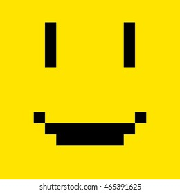 Happy yellow pixel art smiley face