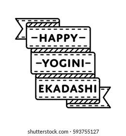 Happy Yogini Ekadashi day emblem isolated illustration on white background. 20 june indian religious holiday event label, greeting card decoration graphic element