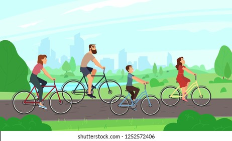 Happy young family riding on bikes at park. Parents and kids girl boy laughing city ride bicycles. Summer activities bike and healthy families outdoors leisure cartoon colorful  illustration