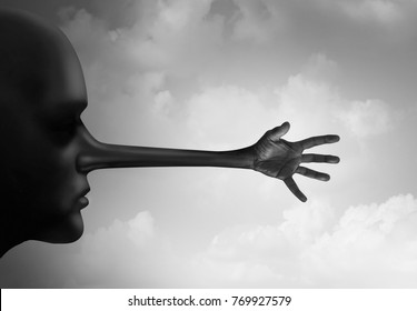 Harassment lie as a guilty person who sexually assaults or abuses as a human head with a liar long nose with a grabbing groping hand in a 3D illustration style.
