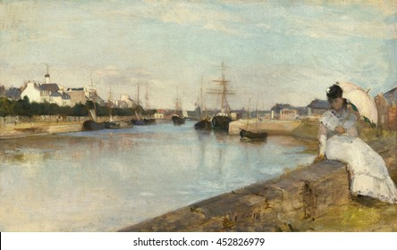 The Harbor at Lorient, by Berthe Morisot, 1869, French painting, oil on canvas. Impressionist view of still water and ships in the Breton harbor, with a women in white seated on the seawall