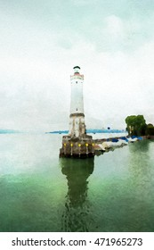 Harbour of Lindau in watercolor