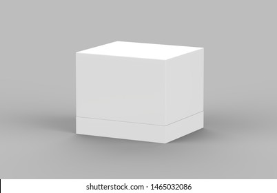 Hard cardboard box mock up template on isolated white background, ready for your design presentation, 3d illustration.