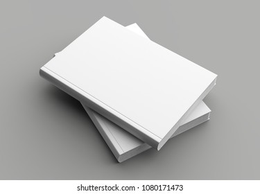 Hard cover book mock up isolated on soft gray background. 3D illustrating.
