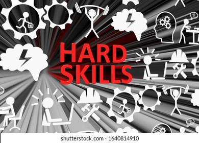 HARD SKILLS concept blurred background 3d render illustration
