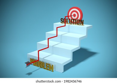 Hard way from problem to solution. Concept with arrow hit the target and growing stairs, 3D render. Problem solving and personal growth concept.