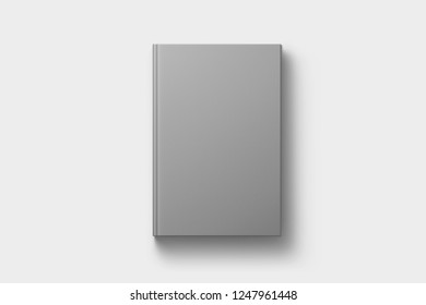 Hardcover book template, blank book mockup for design uses, 3D rendering. Blank gray book cover on soft gray background. Isolated with clipping path.