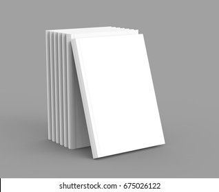 Hardcover book template, blank standing books mockup for design uses, 3d rendering