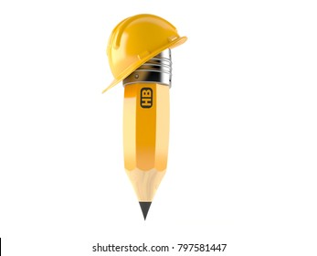 Hardhat with pencil isolated on white background. 3d illustration NOTE - HB it's not a brand or logo. HB it's pencil's hardness type