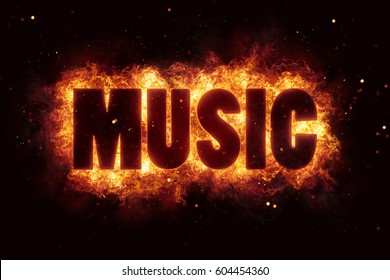 hardrock rock music text on fire flames explosion