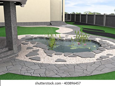 Hardscapes and water garden, 3d rendering