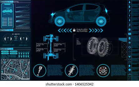 Hardware Diagnostics Condition of Car, Scanning, Futuristic auto service. Mobile car app elements. Test, Monitoring, Analysis, Verification