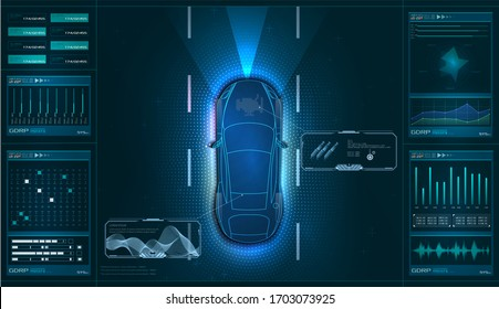 Hardware diagnostics condition of car, scanning, test, monitoring, analysis. Car service in the style of HUD. Virtual graphical interface GUI, UI, HUD Autoscanning, analysis and diagnostics.