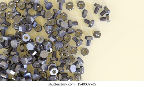 hardware fastener nuts bolts metal screws 3D illustration