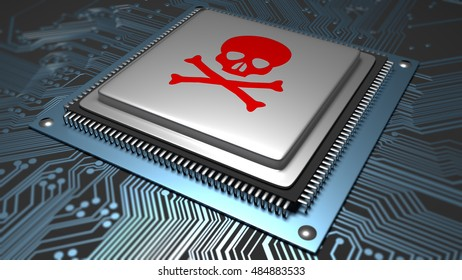 A hardware IC or chip with a skull on top of it. Illustrating malware or virus infection on hardware and device internals. 3D Illustration.
