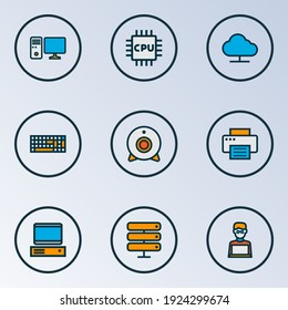 Hardware icons colored line set with web cam, man with laptop, PC and other storage elements. Isolated illustration hardware icons.
