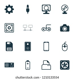 Hardware icons set with power supply, photocamera, audio cable and other diskette elements. Isolated  illustration hardware icons.