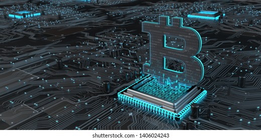 Hardware with motherboard, processor and bitcoin. 3d illustration.