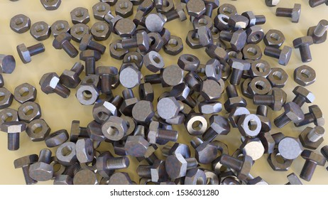 hardware store nuts bolts metal screws 3D illustration