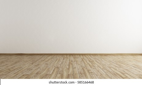 Hardwood floor with white wall background. Interior Design. 3D Rendering