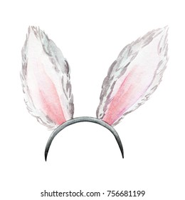 hare ears watercolor. Funny accessory on the head for a costume party