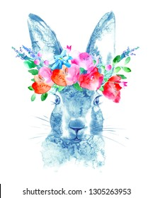 Hare and floral wreath. Wild animal image. Watercolor hand drawn illustration.