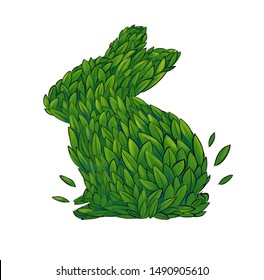 Hare sign is not tested on animals isolated on white background, is not tested on animals with green leaves, eco friendly, no violence.  vegan product.  Hand-drawn sketch illustration. Green hare