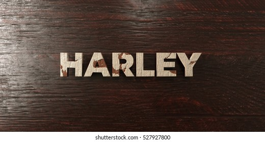 Harley - grungy wooden headline on Maple  - 3D rendered royalty free stock image. This image can be used for an online website banner ad or a print postcard.