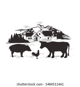 harm house black silhouette with rooster pig and cow