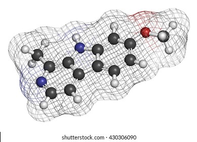Harmine alkaloid molecule. Herbal inhibitor of monoamine oxidase A. (MAO-A). 3D rendering. Atoms are represented as spheres with conventional color coding: hydrogen (white), carbon (grey), etc