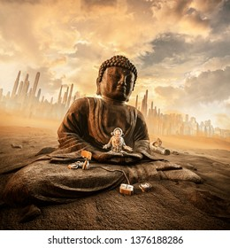 Harmony in the heat / 3D illustration of astronaut meditating on ancient stone statue of Buddha on abandoned desert city colony planet under a glorious sky