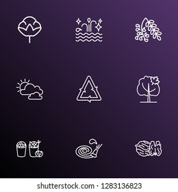 Harmony icons line style set with harvest, walnut, cotton flower and other hosepipe elements. Isolated  illustration harmony icons.