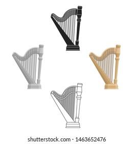 Harp icon in cartoon style isolated on white background. Musical instruments symbol stock bitmap illustration