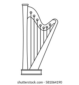 Harp icon. Outline illustration of harp  icon for web